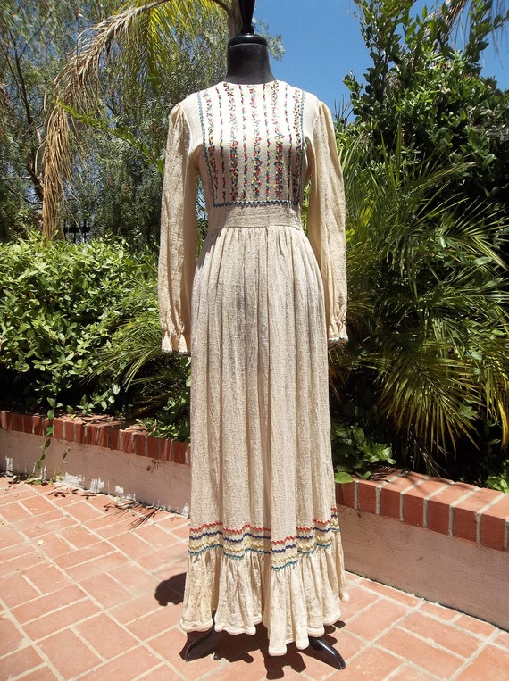 vintage 60s 70s folk  Mexican embroidered bric-a-brac boho hippie peasant maxi dress gauze barefoot beach wedding S