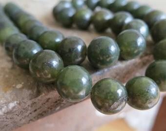 Dark Green Jade 10mm Round Ball Loose Beads