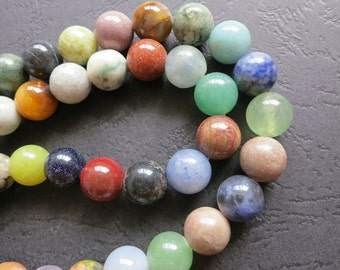 Assortment Mixed Stone Round Beads 10mm- 39pcs/strand