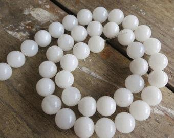 White Stone Round Ball beads 10mm- 39pcs/strand