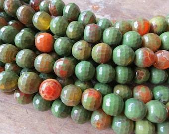 5 str -Orange Green Fire Agate 12mm Round Beads- 33pcs/Strand