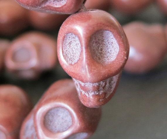 Chocolate Coffee Brown Howlite Turquoise Skull Beads 10x12x11mm- 33pcs/Strand