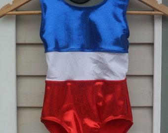 Girl's Red, white and blue patriotic gymnastics leotard