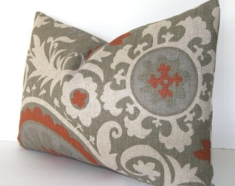 SALE - Both Sides - Contemporary Decorativei Pillow Cover - Suzani  - Terracotta - Rust - Stone/Grey