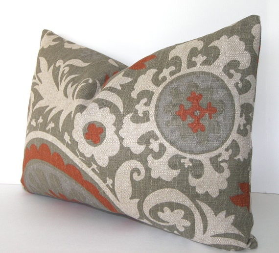 SALE - Both Sides - Contemporary Decorativei Pillow Cover - Suzani  - Terracotta - Rust - Stone/Grey