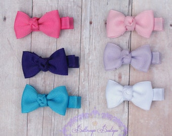 Baby hair bows, itty bitty hair clip, infant hair bows, baby hair clip, 2 itty  bitty hair bows you choose colors