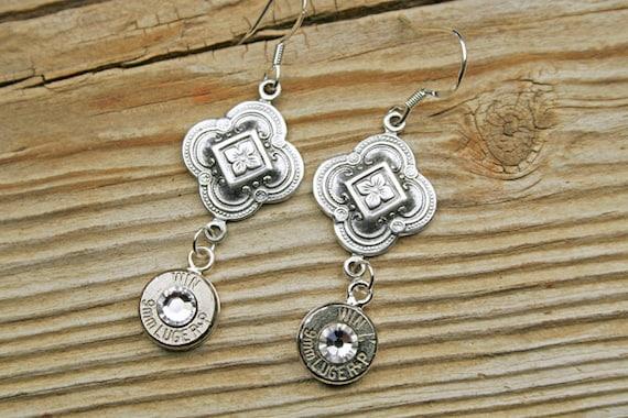 Bullet Earrings / Winchester® Majestic Bullet Earrings with Sterling Silver Earwires WIN-9MM-N-MJE / Sterling Silver Earrings / Custom