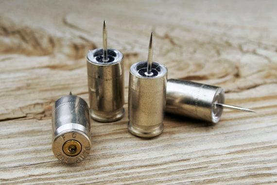 Bullet Push Pins / 380 Auto Nickel Bullet Push Pins - Set of 4 ANY-380-NB-PP / Push Pins / Bullet Pushpins / Silver Pushpins / 380 Pushpins