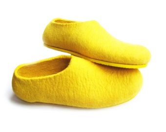 Yellow Felted Slippers - Wool Shoes - Minimalist Shoes - House Shoes - Womens Shoes - Rubber Soles - Christmas in July - Mothers Day Gift