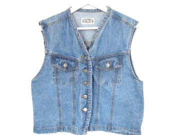 90's Denim cropped vest size -  L