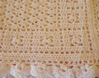 SALE Pink Crocheted Baby Afghan