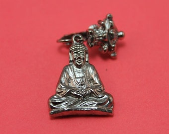 EARRINGS - BUDDHA - SILVER clip on earrings - hanging