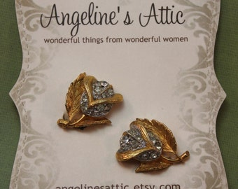 EARRINGS - gold ROSES with RHINESTONES earrings - Wedding
