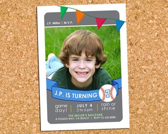 Baseball Softball Birthday Party Photo Invitation, Baseball Trading Card Party Invite, Boys Sports Party - DiY Printable || Baseball Gameday