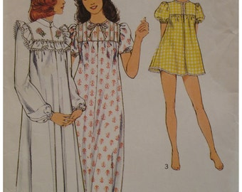 "Shortie PJs Pattern, Nightgown, Tie Neck, Full Sleeves Vintage 1970s Style No. 4923 Size 12 Bust 34"" 87cm"