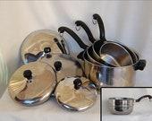 Set of 9 pcs Vintage Farberware Stainless Steel Aluminum Clad 4 Qt Covered Stock Pot PLUS 3 Covered Saucepans AND Bonus Double Boiler Insert