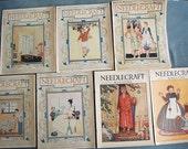 Lot of 7 Needlecraft Magazines 1920s Set of Vintage Ephemera with Lots of Vintage Fashion and Advertising