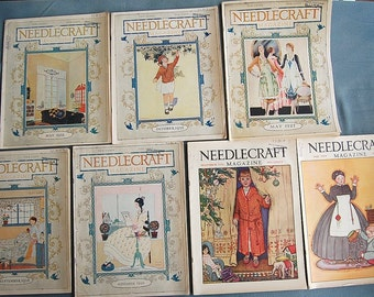 Lot of 7 Needlecraft Magazines 1920s Set of Vintage Ephemera with Lots of Vintage Fashion and Advertising