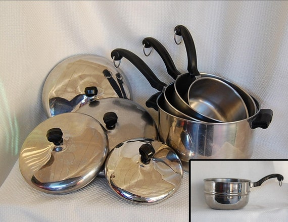 Set Of 9 Pcs Vintage Farberware Stainless Steel Aluminum Clad