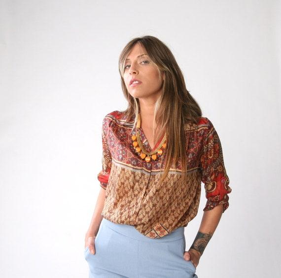 SALE, Silk Moroccan print, Women blouse, Silk buttoned shirt, Autumn blouse, Only one left