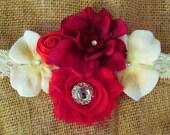 Valentine headband, Red and cream chiffon silk, shabby chiffon headband- swarovski crystals- lace, satin, , flower girl,photo prop, any size