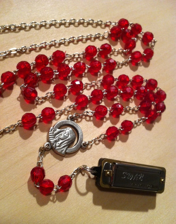 Functional Harmonica Necklace on Vintage Red Beaded Rosary