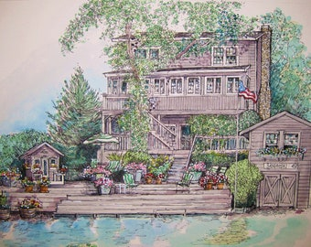 Watercolor House Painting-Original Custom Portrait of Your Home-Vacation Sites,Lake Homes,Cottages,Summer Homes,Personalized Gift