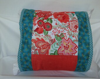 Pillow cover,Turquoise pillow wrap,, orange floral, home decoration flowered pillow wrap, home decor, floral pillow cover, pillow wrap