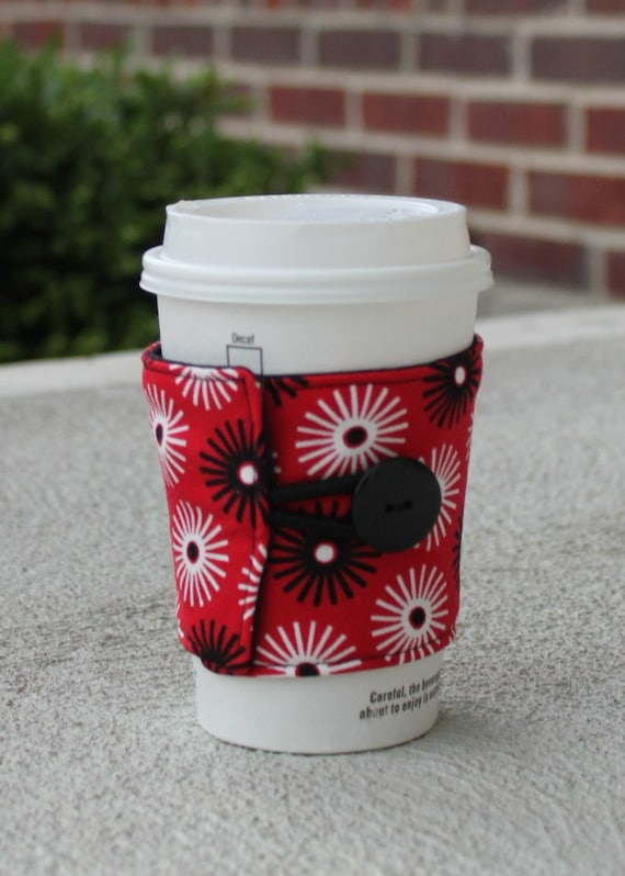 Reusable Coffee Sleeve / Coffee Cozy - Red, Black and White Sunburst
