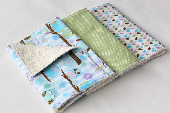 Contoured or Rectangular Burp Cloths - Baby Girl Chenille Burp Cloth Set - Three Burp Rags - Lavendar and Blue Owls / Sage Green Polka Dots