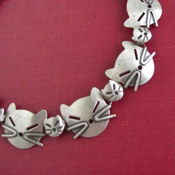 Vintage BEAU Sterling Silver CAT Bracelet