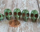 Awesome Green Skull Stone Beads