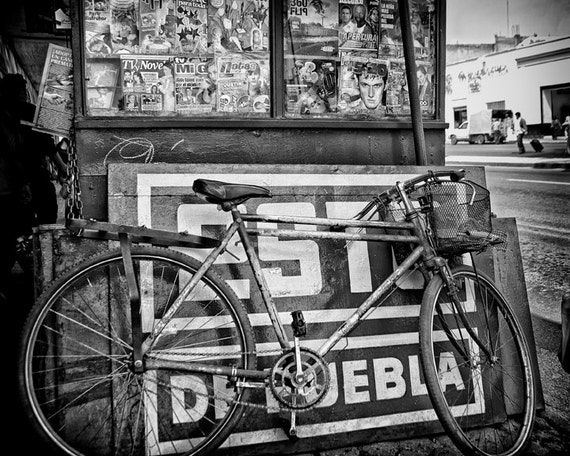 Old Bicycle at a Newsstand in Mexico Fine Art Photograph 5x7 8x10 11x14 16x20 24x30