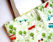 Back to School Traffic Jam Cars Green Yellow Magazine Tote
