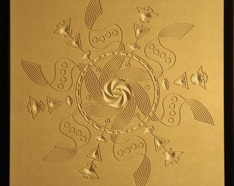 Crop Circle Wood Relief - 24x24 - Maelstrom