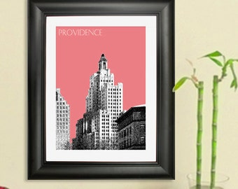 Providence Skyline Poster - Providence Rhode Island Skyline 2  Art Print - 8 x 10 Choose Your Color
