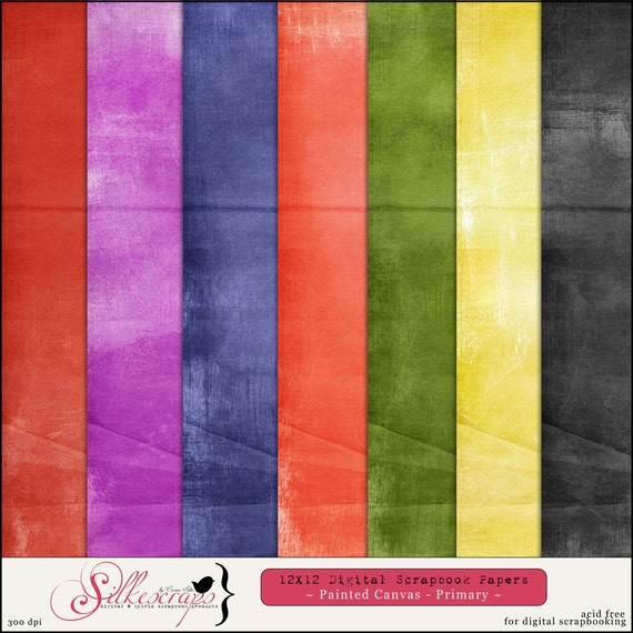 Digital Scrapbook Papers - PAINTED CANVAS - PRIMARY Colors for card making, scrapbooking - Printable