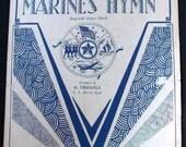 1919 The Marines' Hymn Sheet Music USMC U.S. Marine Corps Antique Blue & White  -- 0819