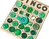 Vintage Green Bingo Buttons, Celluloid, MOP, etc. -- 0836