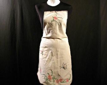 Vintage 1930's Floral Embroidered Bib Apron