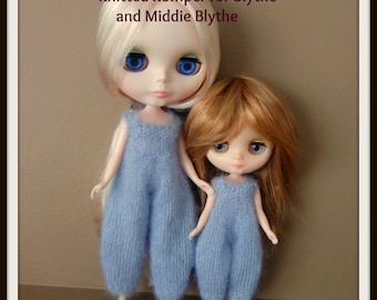 Instant Download PDF Knitting Pattern for Fuzzy Rompers for Blythe and Middie Blythe