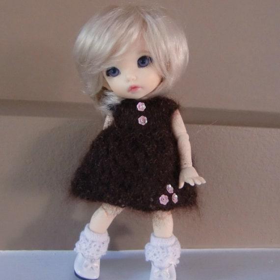 FALL SALE - Knitted Brown Kidsilk Dress for Lati Yellow or Pukifee