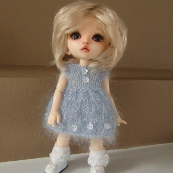 Knitted Blue Kidsilk Dress for Lati Yellow or Pukifee