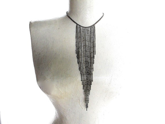 Chain Fringe Necklace: Antique Brass Bead Choker with Beaded Chain Fall, 80s Inspired