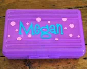 Polka Dot Personalized Pencil Box / Art Supply