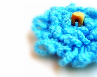 Aqua Blue Crochet Flower Brooch for Dress, Hat, Top, Felt Backing, Nickel Bar Pin