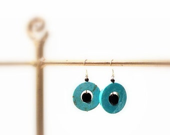 Turquoise Dangle  Earrings, Round with Black Glass Beads