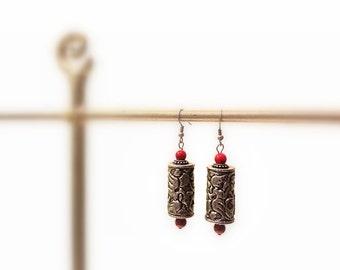 Silver Dangle Earrings, Red beads, Silver Hooks, Bohemian  Asian Style