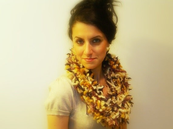 Knitted Cowl Scarf, Fluffy Multi Color Ivory, Purple, Mustard Yellow Wool Blend, Soft Neck Warmer