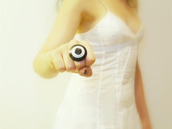 Black and White Vintage Button Retro Adjustable Ring